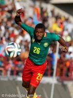20150609 – Mons, Belgium :  Cameroun's defender Ndassi NGWENI (#26)  goes for a header during the friendly football game between Democratic Replublic of Congo and Cameroun on 09/06/2015 in Mons (Albert)