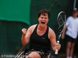 Aniek Van Koot of the Nederlands after winning her women's wheelchair singles final match against Jordanne Whiley of Great Britain on day 5 of the  2015 Belgian Open tennis tournament in Géronsart(Namur) on August 1st, 2015.