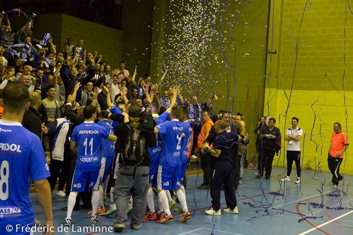 Finale de la Coupe de Belgique de futsal entre Chatelineau et Anvers qui s'est déroulé à Anderlecht (salle Simonet) le 01/05 /2014.
