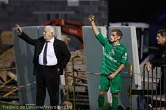 Gaétan JOANNES (16)  du RFC Meux blessé lors de la célébration du 2-0 lors du Match de Football Promotion D entre Meux et Hamoir a Meux (terrain de foot) le Saturday, April 5, 2014.