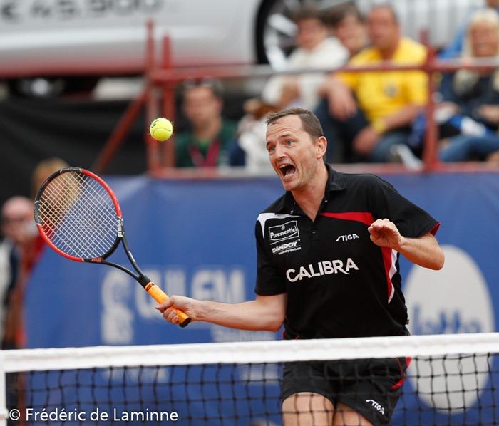 Jean-Michel Saive lors du Jaguar Tennis Trophy qui s'est déroulé à Namur (place St Aubain) le 14/06 /2014.