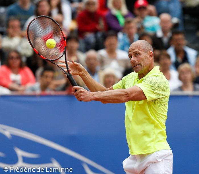 Guy Forget lors du Jaguar Tennis Trophy qui s'est déroulé à Namur (place St Aubain) le 14/06 /2014.