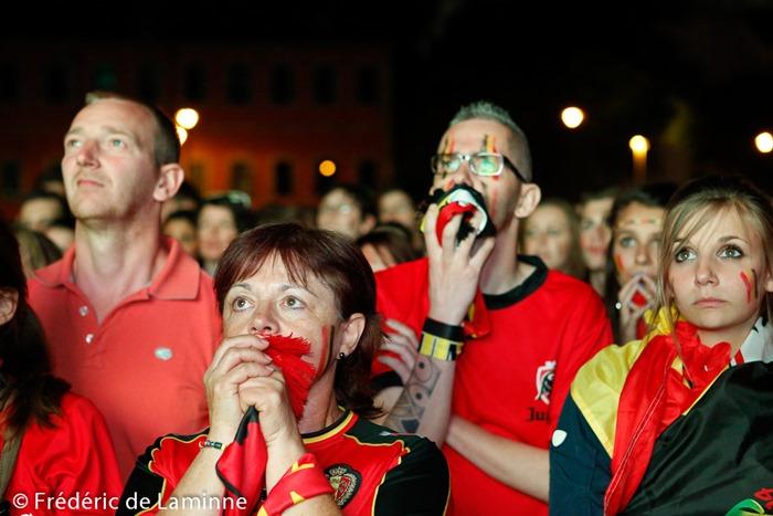 Fans / Supporters lors de la retransmission du match de Coupe du monde entre la Belgique et les USA qui s'est déroulée à Namur (Grognon) le 01/07 /2014.