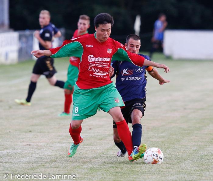 Jean Bernard WILLIQUET (8)  du RFC Fosses lors du Match du 2e tour de la Coupe de Belgique Couvin-Mariembourg – Fosses qui s'est déroulé à Couvin (Stade du Roi Soleil) le 02/08/2014.