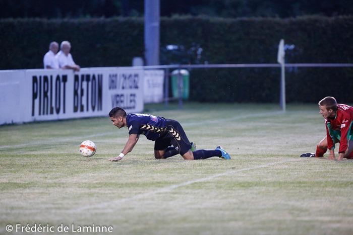 Bareck BENDAHA (8)  du RES Couvin Mariembourg lors du Match du 2e tour de la Coupe de Belgique Couvin-Mariembourg – Fosses qui s'est déroulé à Couvin (Stade du Roi Soleil) le 02/08/2014.