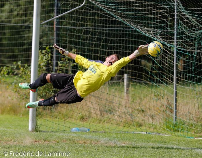 Sébastien BAYS (18) GK du FC Eprave lors du Match du 2e tour de la Coupe de Belgique Eprave – Rochefort qui s'est déroulé à Eprave (rue de la Gare) le 03/08/2014.