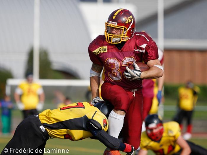 match Andenne Bears - Jets lors du tournoi de Football Américain qui s'est déroulé à Andenne (Andenne Arena) le 14/09/2014.