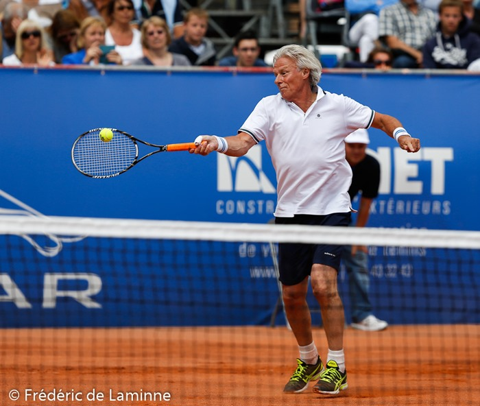 Match entre Björn BORG et  Adriano PANATTA lors du Jaguar Tennis Trophy qui s'est déroulé à Namur (place St Aubain) le 14/06 /2014.