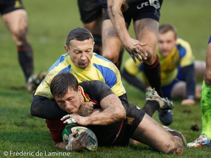 lors du Match de Rugby : Belgique - Ukraine qui s'est déroulé à Jambes (Stade Adeps) le 15/11 /2014.