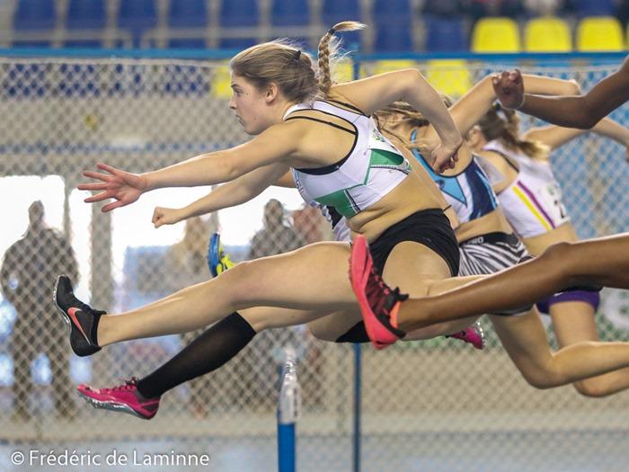 Finale du 60m haies lors du championnat LBFA en salle Cadets et Scolaires qui s'est déroulé à Gand (Topsporthal) le 17/01 /2015.