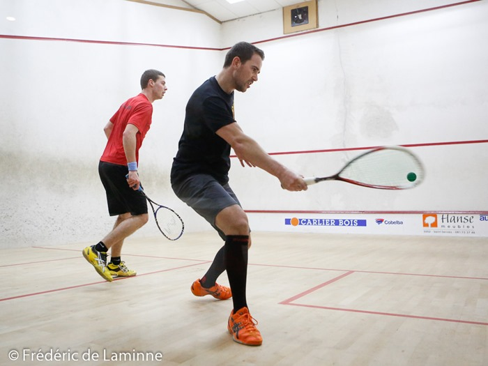 Jan Van Den Herrewegen - Alexandre Benassi lors du Championnat de Belgique de Squash qui s'est déroulé à Namur (Bowling et Squash de Namur) le 28/02 /2015.