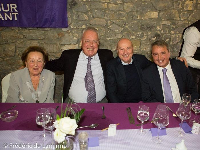 Josette Frippiat, Roger Vanden Stock, Luciano D'Onofrio et Herman Van Holsbeeck prennent la pose lors du Souper du Fan Club d'Anderlecht qui s'est déroulé à Achêne (Ferme d'Achêne) le 02/03 /2015.