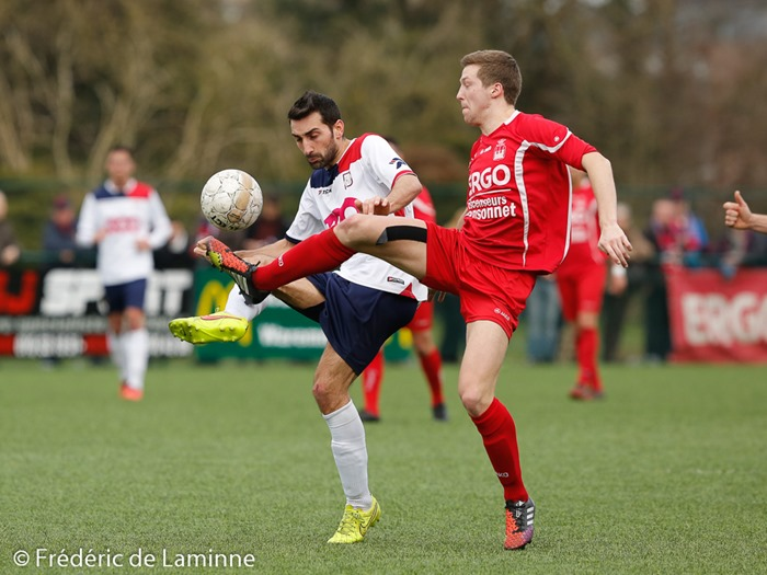 Match de Football promotion D entre Waremme et le RFC de Liège qui s'est déroulé à Waremme (Stade Leburton) le 06/04 /2015.
