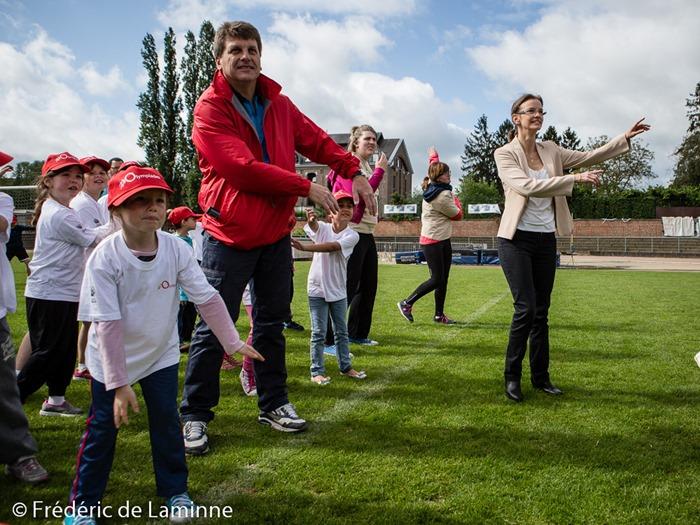 Anne Barzin, lors des Olympiades des écoles communales de Namur qui s'est déroulé à Jambes (Stade Adeps) le 19/05 /2015.