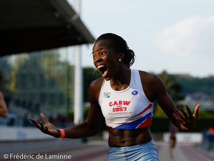 Cynthia Bolingo laisse exploser sa joie après avoir battu son record personnel sur 400m (52.60) ce qui signifie une qualification pour  les championnats d'Europe espoirs à Tallinn en juillet et la meilleure performance belge de l'année lors du Meeting Atletissima qui s'est déroulé à Jambes (Stade Adeps) le 27/05 /2015.