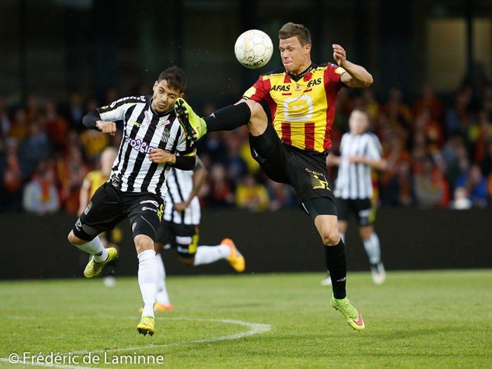 Lors de la finale aller des Play-off 2 entre FC Malines et Sporting Charleroi qui s'est déroulé à Leuven (Den Dreef) le 28/05/2015.