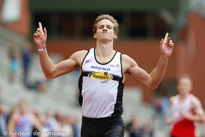 a runner react after winning his heat during final day of the Belgian Athletics Championship 2015 on 26/07/2015 in Brussels (Boudewijnstadion/ Stade Roi Baudouin)