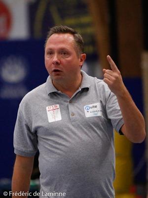 F. PRIELS (c) coach de l' US Lambusart lors du Match de Basket-ball D3: Belgrade – Lambusart qui s'est déroulé à Belgrade (rue des Tautis) le 07/11/2015.