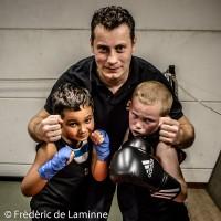 Georges Dujardin, Younes et Enzo lors du Entrainement Boxe Georges Dujardin qui s'est déroulé à Jambes (Hall du Souvenir) le 20/10 /2015.