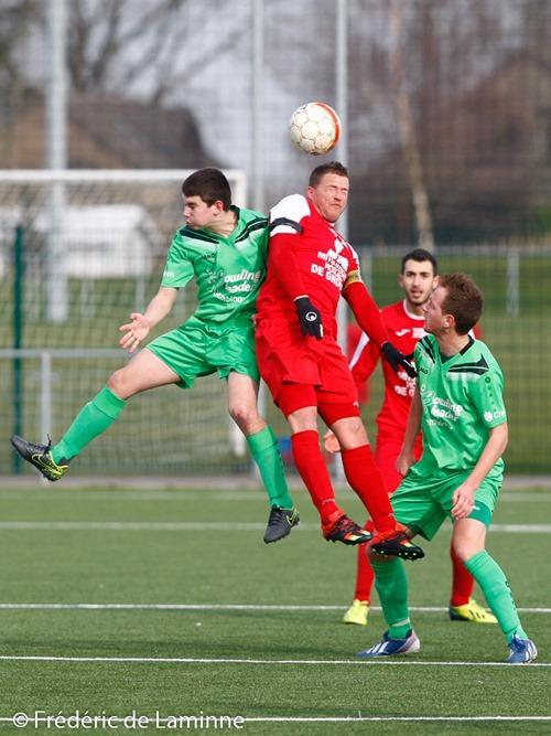 Match de Football P1: Onhaye – Meux B qui s'est déroulé à Onhaye (Stade Jean Mathieu) le 28/02/2016.