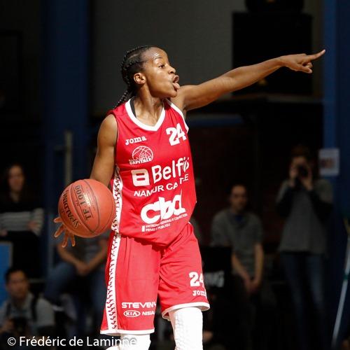 Emmanuelle MAYOMBO (24)  du Belfius Namur Capitale lors de la finale coupe de Belgique dames: Belfius Namur – Castors Braine qui s'est déroulé à Boom (Sporthal) le 28/03/2016.