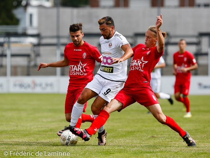 Seraing, Belgium. 9 Jul, 2016. RFC Seraing's Alessio ALLEGRIA (#9) compete for the ball during the Soccer Friendly between RFC Seraing and Royal Excel Mouscron that took place in Seraing, Belgium. © Frédéric de Laminne/Alamy Live News
