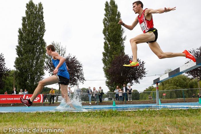 3000m steeple juniors/espoirs lors du Championnat de Belgique d'Athlétisme Juniors-scolaires qui s'est déroulé à Nivelles (CABW) le 11/09/2016. Photo : Frédéric de Laminne