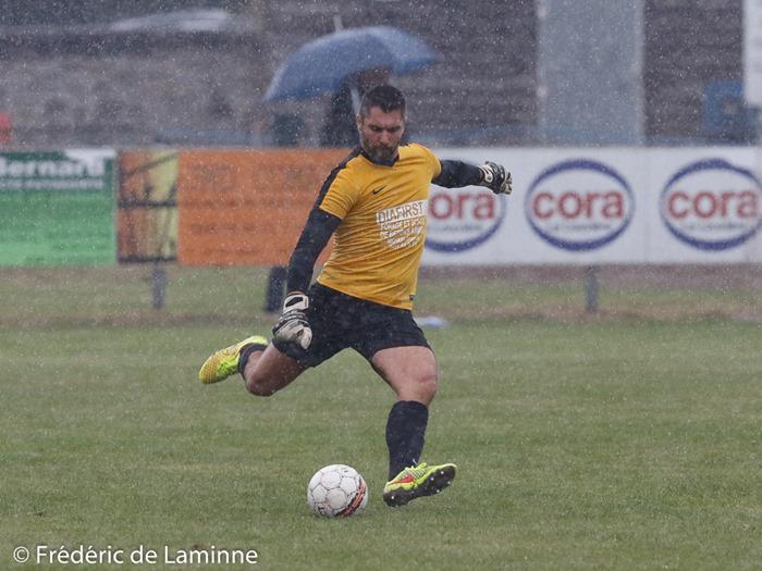 Johan LARDIN (1) GK de l'US Solre lors du Match de Football D3 ACFF: Solre/Sambre – Léopold Uccle qui s'est déroulé à Solre/Sambre (-) le 02/10/2016.