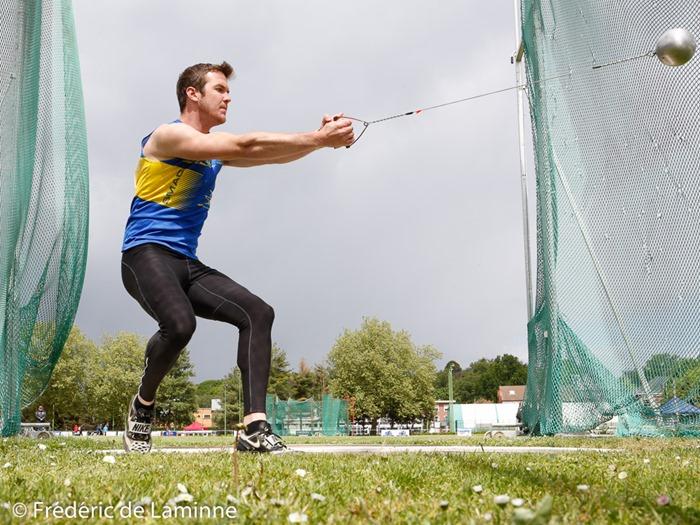 THOMAS MOREAUX (SMAC) au marteau lors des Intercles Hommes – div Nationale (athlétisme) qui se sont déroulés à Leuven-Kessel-Lo (Stade Gaston Roelants) le 15/05/2016.