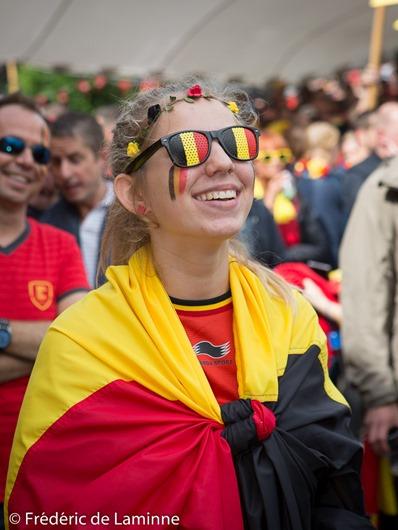 Une supportrice des Diables Rouges lors de la Retransmission du match Belgique - Irelande qui s'est déroulée à Eghezée (Complexe sportif) le 18/06/2016.