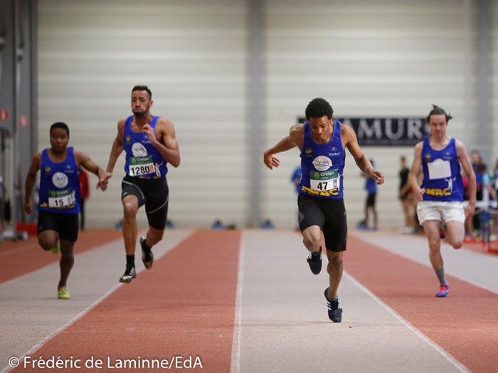 Raphael Kapenda (47) remporte le 60m lors du Meeting indoor d'athlétisme du SMAC qui s'est déroulé à Malonne (Hall indoor) le 07/01/2017.