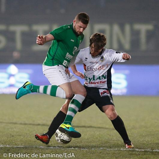 ? et Mathieu FIEVET (8) de l'Olympic Club de Charleroi lors du Match de Football D2 ACFF: Olympic – Châtelet qui s'est déroulé à Charleroi (Stade de La Neuville) le 21/01/2017.