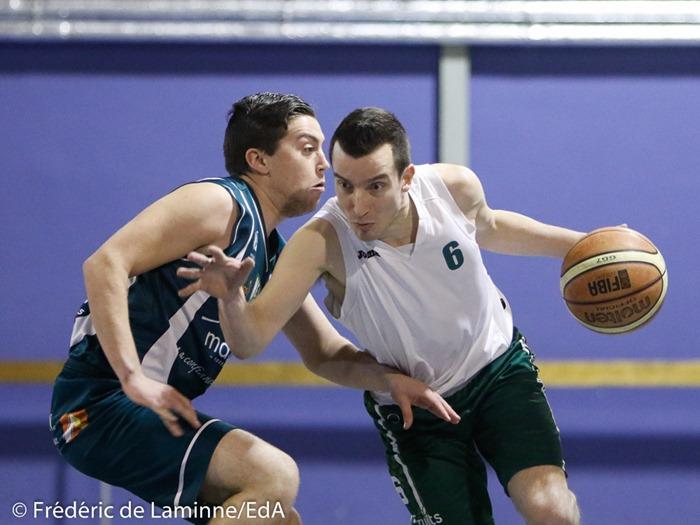 T. FRANKINIOULLE (6) du BC Malonne est déterminé lors du Match de Basket-ball R2B: Malonne-Belgrade qui s'est déroulé à Malonne (Champ Ha) le 24/01/2017.