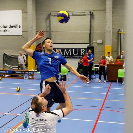 Championnat d'Europe de volley de la police Belgique - Finlande qui s'est déroulé à Profondeville (Complexe de la Hulle) le 01/02/2017.