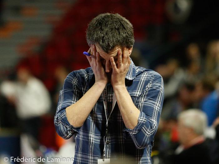 Olivier Jacob, coach de Namur lors de la Demi finale hommes DH Hockey Namur - White Star qui s'est déroulé à Charleroi (Spiroudome) le 04/02/2017.