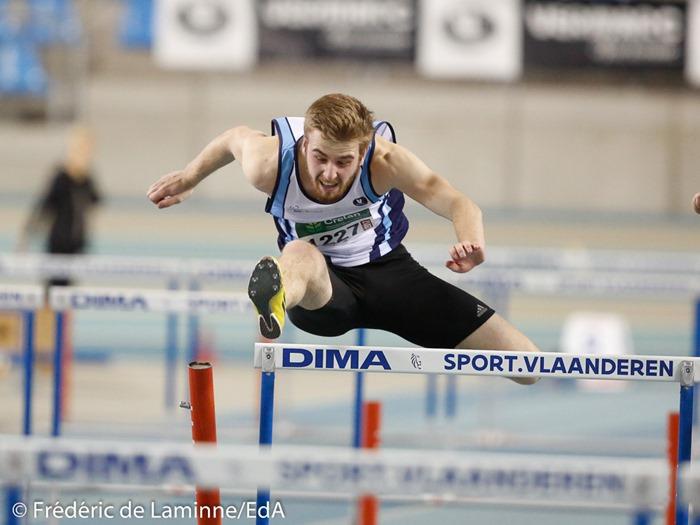 Robin Bodart, finale 60m haies espoirs lors du Championnat de Belgique indoor Juniors et Espoirs qui s'est déroulé à Gand (Topsporthal) le 04/03/2017.