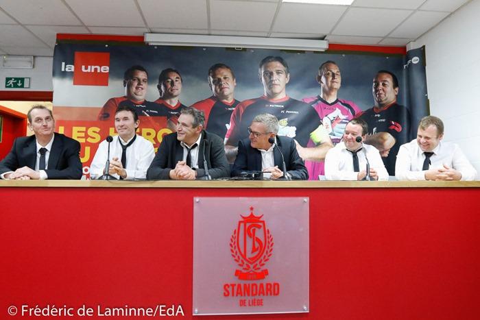 Joel Vanderlinden, JC Guisset, Pierre Bungeneers, Leo Van der Elst, Olivier Leclercq et Jean Luc Hauldebuam lors du Match de Football Les Héros du Gazon 2 qui s'est déroulé à Liege (Sclessin - Standard) le 05/03/2017.