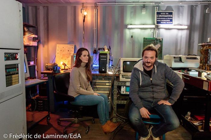 Patrick Ridremont et Constance Gay lors du Tournage de la série Unité 42 RTBF qui s'est déroulé à Namur (Musée de l'Informatique) le 06/03/2017.