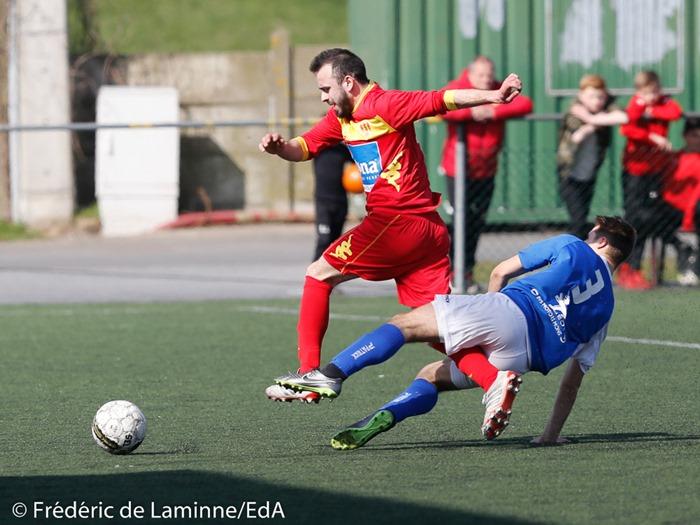 J. MURRONE (3) de Pont-à-Celles Buzet lors du Match de Football P1: Gosselies-Pont-à-Celles qui s'est déroulé à Gosselies (RGS) le 26/03/2017.