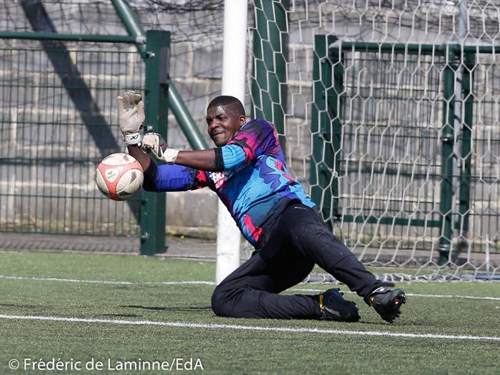 Narcisse BOLA (99) GK du R. Anhée lors du Match de Football P1: Andenne – Anhée qui s'est déroulé à Andenne (Stade Papa) le 02/04/2017.
