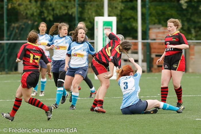 Match de Rugby IPNexia Platefinale dames : Namur – Hamme qui s'est déroulé à Neder-Over-Heembeek (Centre sportif) le 22/04/2017.