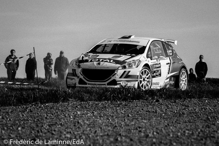 ABBRING / TSJOEN (#7) sur Peugeot 208 T16 (RC2 R5) lors de la SS 18 Vedrin du Rallye de Wallonie qui s'est déroulée à Warisoulx (cimetière) le 30/04/2017.