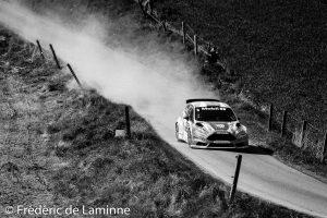 GEUSENS / CUVELIER (#8) sur Ford Fiesta R5 (RC2 R5) lors de la SS 11 Natoye du Rallye de Wallonie qui s'est déroulée à Maibelle (-) le 29/04/2017.
