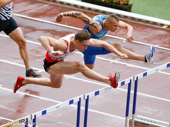 Hanjoul Denis et Caty Dylan lors du Championnat de Belgique d'Athlétisme TC qui s'est déroulé à Bruxelles (Stade Roi Baudouin) le 01/07/2017.