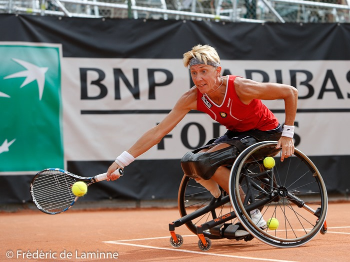 20170729 - Namur, Belgium : Sabine Ellerbrock (GER) returns the ball during her semifinal match against Aniek Van Koot (NED) at the 30th Belgian Open Wheelchair tennis tournament on 29/07/2017 in Namur (TC Géronsart). © Frédéric de Laminne