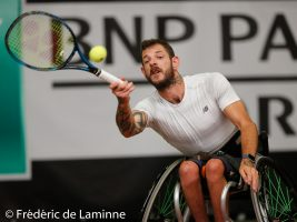 20170730 – Namur, Belgium : Heath Davidson (AUS) returns the ball during his finale against David Wagner (USA) at the 30th Belgian Open Wheelchair tennis tournament on 30/07/2017 in Namur (TC Géronsart). © Frédéric de Laminne