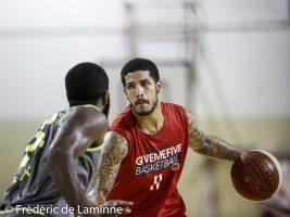 T. LARSON lors du Match de gala de Basket-ball:  Brussels-Liège qui s'est déroulé à Gembloux (Chapelle Dieu) le 26/08/2017.