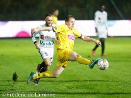 K. VANHORICK (90)  de l'Olympic Club de Charleroi et L. DETHIER (10)  du RFC Liège lors du Match de Football D2 ACFF Olympic Charleroi – RFC Liégeois qui s'est déroulé à Charleroi (Stade de la Neuville) le 04/11/2017.